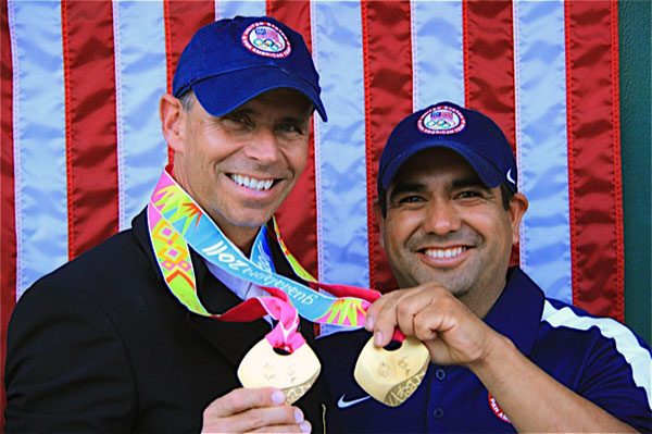 """Eddie"" Jose Eduardo Garcia Luna with Pan American Games double gold medal winner Steffen Peters. Photo: Courtesy Steffen Peters"
