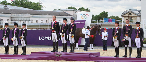 Proposals for future Olympic dressage would see medals podiums similar to the team awards at the 2012 London Games--three riders from each nation. File photot © Ken Braddick/dressage-news.com