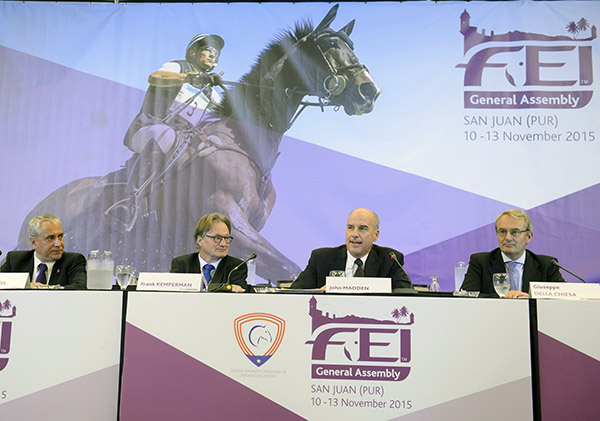 FEI President Ingmar De Vos (left) leading discussions on proposed changes to Olympic competition formats with Frank Kemperman (dressage), John Madden (jumping) and Giuseppe Della Chiesa (eventing). © 2015 FEI/Richard Juilliart