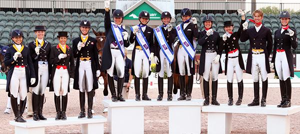 The 2015 Nations Cup medals podium with United States gold, Canada 1 silver and Canada 2 bronze. © 2015 Ken Braddick/dressage-news.com