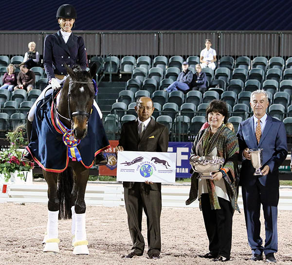 United States Intermediate Championship pair of Christina Vinios on Folkestone OLD, title sponsor Tim Dutta, Betsy Juliano and Gary Rockwell, president of the ground jury. © 2015 Ken Braddick/dressage-news.com