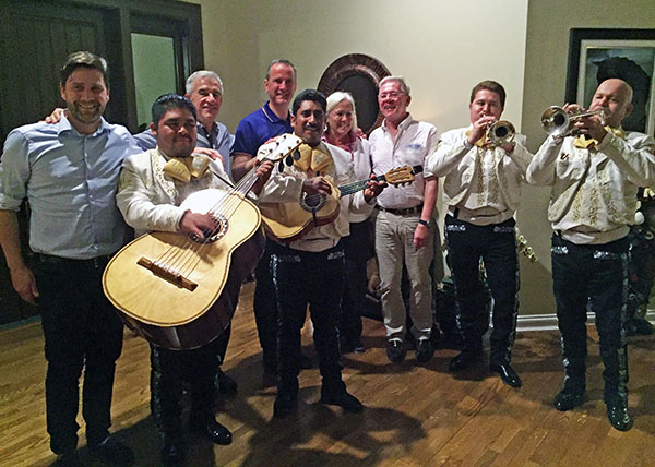 As title sponsor of the Festival of Champions, Tim Dutta and a Mariachi band host the ground jury of Hans ChristianMatthiesen of Denmark. Gary Rockwell of the United States,, Christof Umbach of Luxembourg,. Linda Zang of the United States and Peter Holler of Germany at the Dutta home in Wellington.