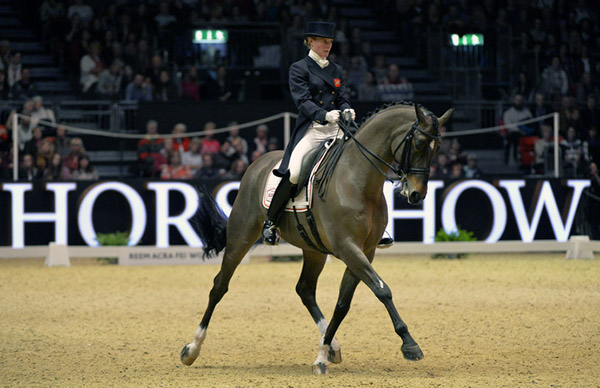 Lara Griffith and Rubin Al Asad posting a personal best at the London Olympia  World Cup Grand Prix Freestyle. © 2015 Kit Houghton/Hpower