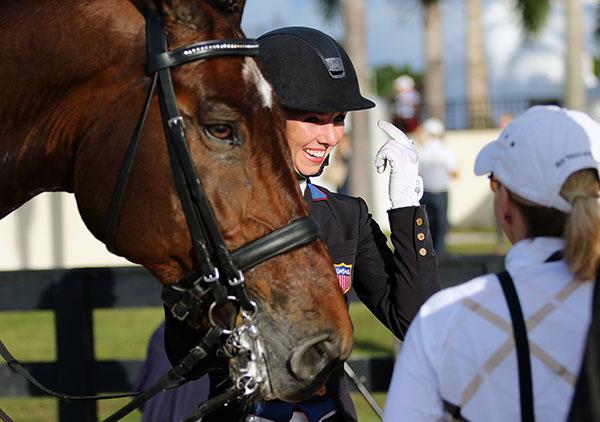 Laura Graves and Verdades with coach Debbie McDonald at the U.S. Grand Prix Championships. © 2015 Ken Braddick/dressage-news.com