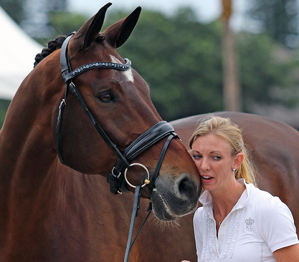 Laura Graves and Verdades spending time together before the United States championships. © 2015 Ken Braddick/dressage-news.com