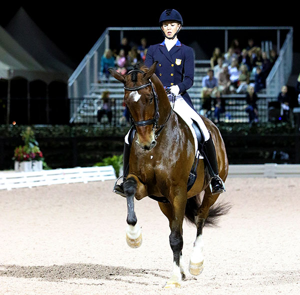 Laura Graves and Verdades completing the Grand Prix Freestyle that clinched the 2015 USA Grand Prix Championship. © 2015 Ken Braddick/dressage-news.com