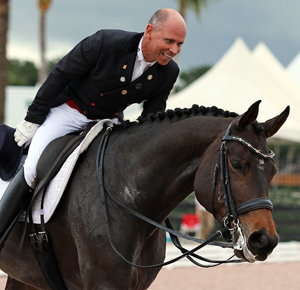 Steffen Peters happy with the ride on Rosamunde in the Grand Prix Special. © 2015 Ken Braddick/dressage-news.com