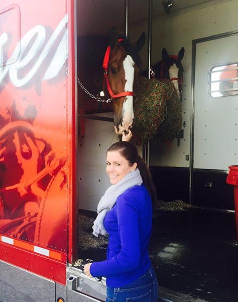 Budweiser Clydesdales being welcomed to Palm Beach International Equestrian Center by Cora Causmann of Aachen, Germany who is the sponsorship coordinator at the Adequan Global Dressage Festival.
