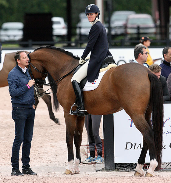Yvonne Losos de Muñiz on Foco Loco with trainer Dieter Laugks after the horse was eliminated from the World Cup Grand Prix in Wellington. © 2016 Ken Braddick/dressage-news.com