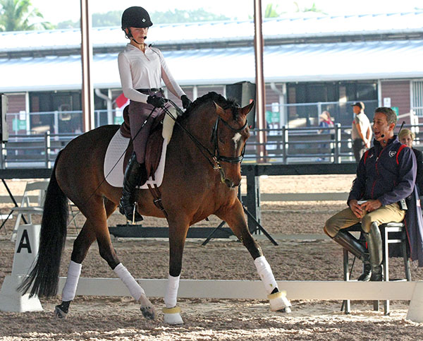 Julia Barton and Dolce Vita with Robert Dover coaching at his HorseMastership Week in Wellington, Florida. © 2016 Ilse Schwarz/dressage-news.com
