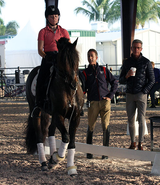 Kerrigan Gluch on HGF Brio receiving instructions from Robert Dover with the pair's regular trainer, Oded Shimoni, looking on.  2016 Ilse Schwarz/dressage-news.com