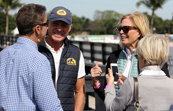 Ann Romney talking with Robert Dover (in blue shirt) and Jan Ebeling and Beth Meyer at the Global Dressage Festival. © 2016 Ken Braddick/dressage-news.com