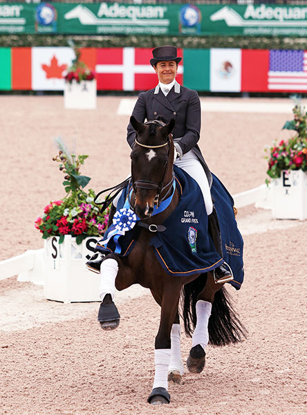 Don Auriello displaying his extravagant extended trot with Tinne Vilhelmson-Silfvén of Sweden aboard after winning the inaugural 2016 World Cup Grand Prix in Wellington, Florida. © 2016 Ken Braddick/dressage-news.com