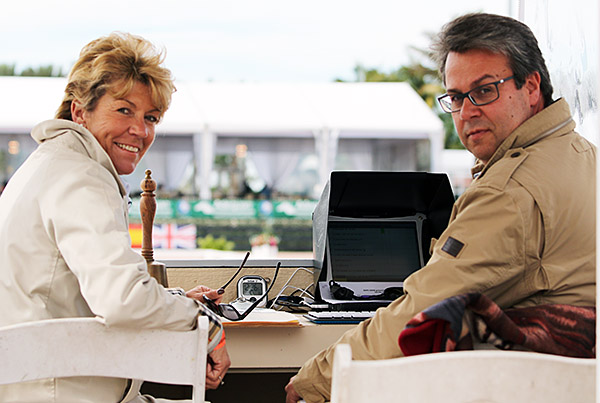 Ulrike Nivelle, a German dressage judge, getting a briefing on the computer scoring system from Adequan Global Dressage Festival Sports Director Thomas Baur. © 2016 Ken Braddick/dressage-news.com
