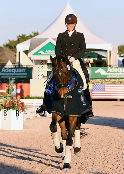 Beatrice Marienau on Stefano B celebrating their CDI3* Grand Prix Freestyle victory at the Adequan Global Dressage Festival in Florida. © 2016 Ken Braddick/dressage-news.com