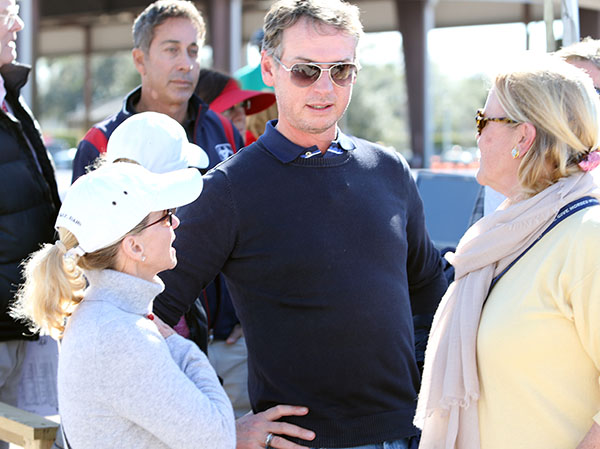 Carl Hester with U.S. developing coach Debbie McDonald (left) and Jane Clark, owner of international dressage, jumper and driving horses. © 2016 Ken Braddick/dressage-news.com