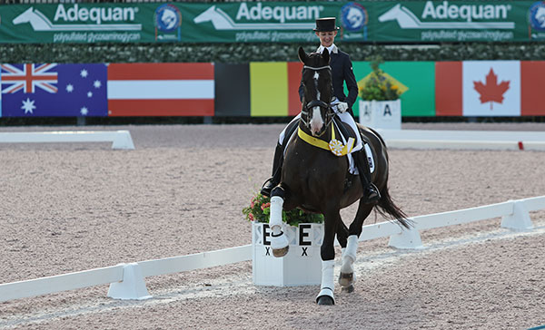Kelly Layne on Udon P in the honor round for the Global Dressage Festival World Cup Grand Prix Special in Wellington, Florida. © 2016 Ken Braddick/dressage-news.com