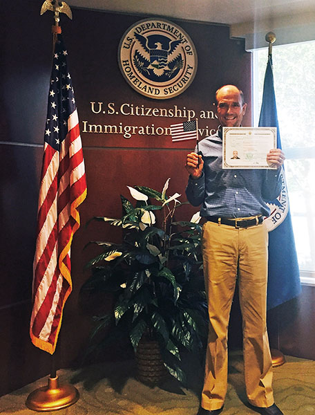 Lars Petersen at swearing-in to become American citizen. Photo Courtesy Melissa Taylor
