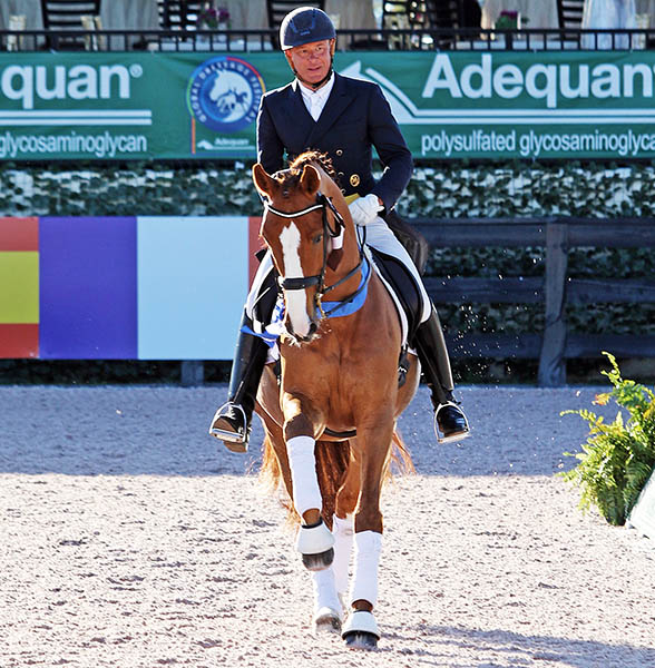 Michael Klimke and Djamba Djokiba celebrating victory in their last Small Tour competition. © 2016 Ken Braddick/dressage-news.com