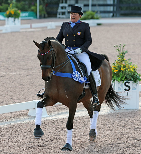 Shelly Francis on Doktor in the honor round after the Global Dressage Festival World Cup Grand Prix Special. © 2016 Ken Braddck/dressage-news.com