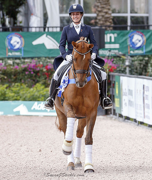 Chile's Virginia Yarur Ready and Finn celebrating their first victory at the Adequan Global Dressage Festival. © 2016 Ken Braddick/dressage-news.com