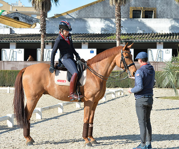Carl Hester with Charlotte Dujardin on Barolo at Jerez de la Frontera, Spain. © 2016 Roslyn Neave/The Horse Magazine