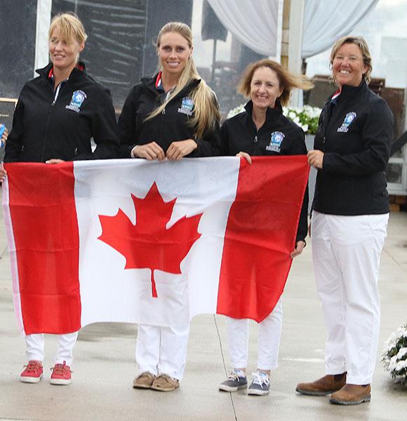 Canada's team of Karen Pavicic, Megan Lane, Belinda Trussell and Jacqueline Brooks. © 2016 Ken Braddick/dressage-news.com
