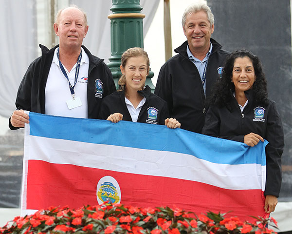 Costa Rica team members Christer Egerstrom, Michelle Batalia, Anne Marie Egerstrom and chref d'equipe Patrick Burssens. © 2016 Ken Braddick/dressage-news.com