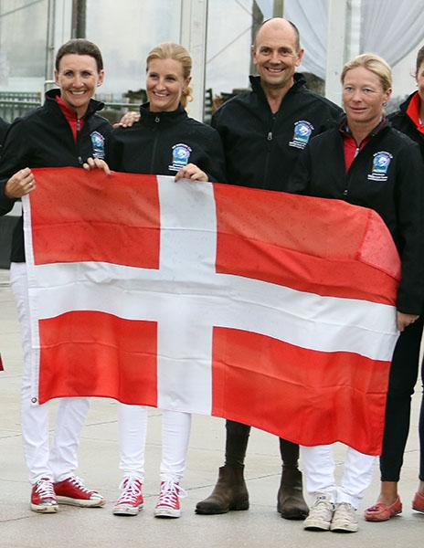 Denmark riders Mikala Gundersen, Rikke Poulsen, Lars Petersen and Signe Kirk Kristiansen. © 2016 Ken Braddick/dressage-news.com