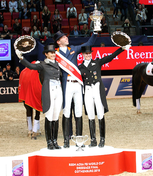 Hans Peter Minderhoud (center) with Tinne Vilhelmson Silfvén (left) and Jessica von Brewdow-Werndl on the medals podium at the World Cup Final in Gothenburg. © 2016 Pelle Wedenmark/dressage-news.com