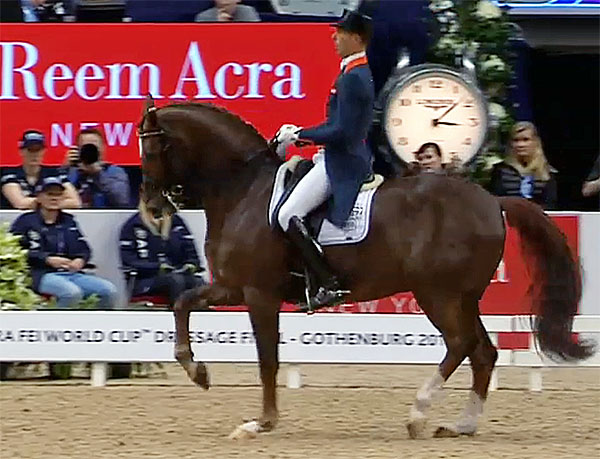 Hans Peter Minderhoud on Glock's Flirt in the World Cup Final Grand Prix at Gothenburg, Sweden.