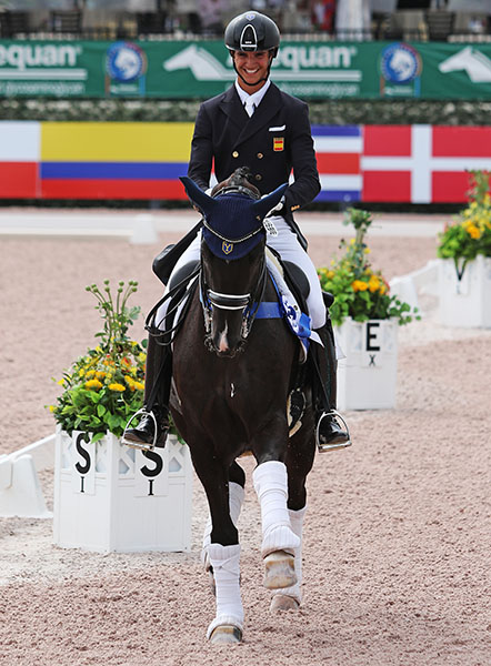 Juan Matute, Jr. on Dhannie Ymas after winning the Intermediate 1 Freestyle at the Adequan Global Dressage Festival. © 2016 Ken Braddick/dressage-news.com