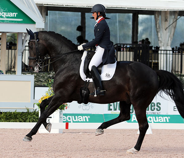 Kasey Perry-Glass riding Dublet at the Adequan Global Dressage Festival. © 2016 Ken Braddick/dressage-news.com