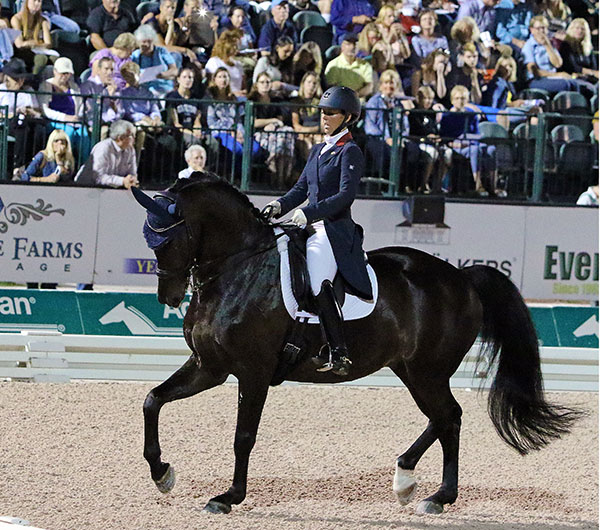 Kasey Perry-Glass and Dublet performing their first Big Tour Freestyle, the Adequan Global Dressage Festival CDI4* Grand Prix. © 2016 Ken Braddick/dressage-news.com