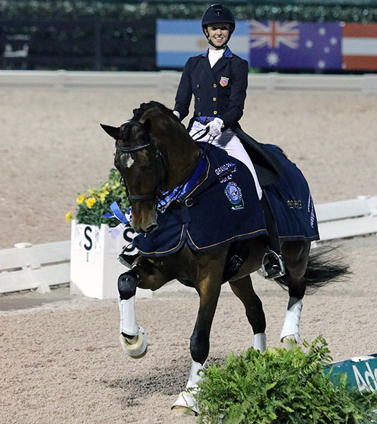 Laura Graves on Verdades enjoying victory in the Adequan Global Dressage Festival CDI4* Grand Prix Freestyle. © 2016 Ken Braddick/dressage-news.com
