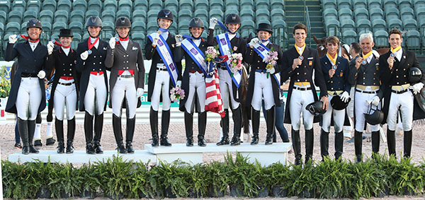Nations Cup medals podium--United States (Icenter) gold, Canada (left) silver and Spain (right) bronze--at the Wellington Wellington CDIO3*. © 2016 Ken Braddick/dressage-new.com