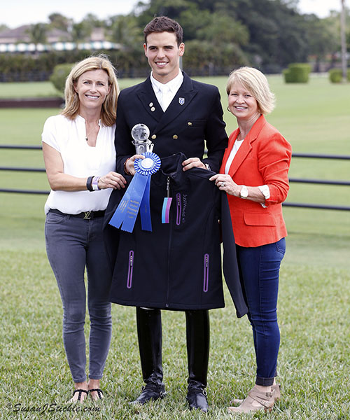 Pablo Molina of Spain on Tarpon Ymas won the 2016 Florida International Championship Under-25 title, shown here with Sara Davis (left) and Terri Kane. © 2016 Ken Braddick/dressage-news.com