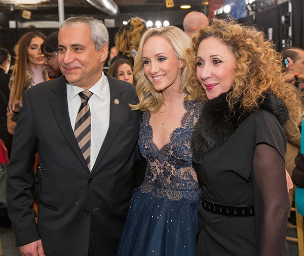 Reem Acra (right) with FEI President Ingmar De Vos and Olympic gymnast Nastia Liukin dressed by Reem Acra at New York Fashion Week.  © 2016 FEI