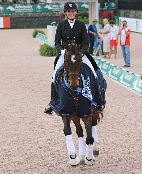 Ashley Holzer and Breaking Dawn in the honor round after winning the Adequan Global Dressage Festival CDI3* Grand Prix Freestyle. © 2016 Ken Braddick/dressage-news.com