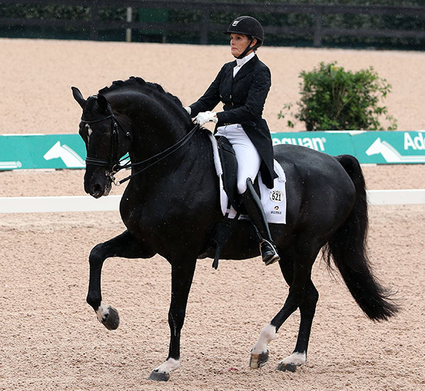 Ashley Holzer and Dressed in Black competing in the Tryon CDI3* Grand Prix. © 2016 Ken Braddick/dressage-news.com