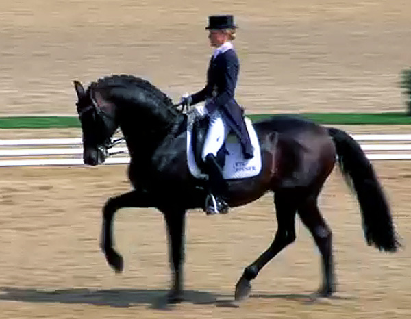 Helen Langehanenberg riding Damsey FRH at Mannheim, Germany that was the first Big Tour competition for the American-owned stallion.