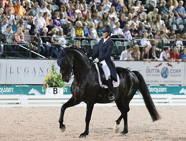 Kasey Perry Glass on Dblet in the Nations Cup individual Grand Prix Freestyle. © 2016 Ken Braddick/dressage-news.com