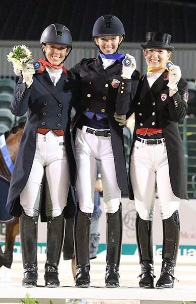 Laura Graves gold (center) Kasey Perry silver (left) and Belinda Trussell bronze winners of the individual CDIO3* Grand Prix Freestyle. © 2016 Ken Braddick/dressage-news.com