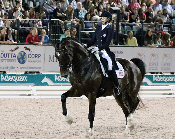 Laura Graves and Verdades coompleting their Nations Cup Grand Prix Freestyle . © 2016 Ken Braddikck/dressage-news.com