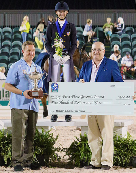 Laura Graves presented with the Equestrian Sport Productions' Grooms Award of $500 for taking care of Verdades herself to add to the $50,135 on the Adequan Global Dressage Festival circuit this year.Laura and her three Olympic team mates competed at Global ahead of the Rio Games. © 2016 Ken Braddick/dressage-news.com