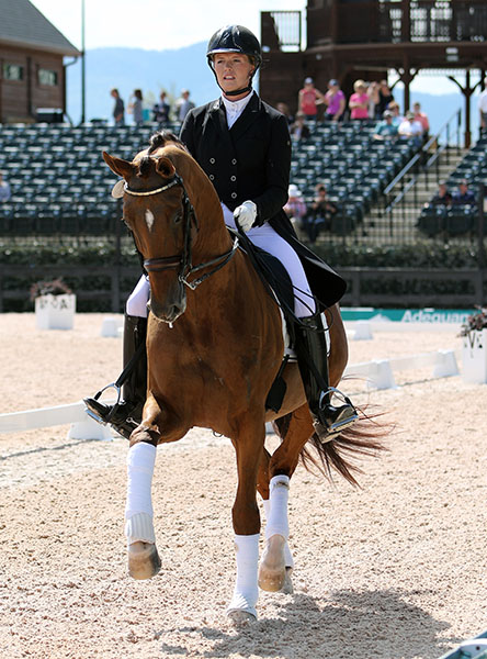Lindsay Kellock and Royal Prinz celebrating their victory in the Tryon CDI3* Intermediate 1. © 2016 Ken Braddick/dressage-news.com
