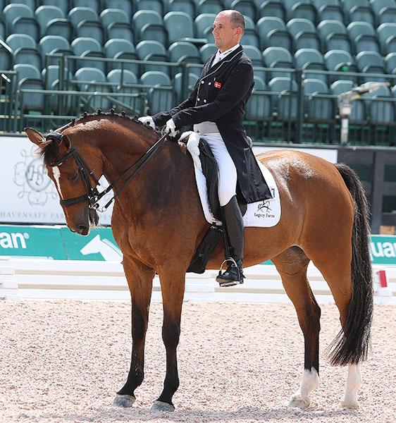 Mariett ridden by Lars Petersen in the last salute for the mare at the Adequan Global Dressage Festival. © 2016 Ken Braddick/dressage-news.com