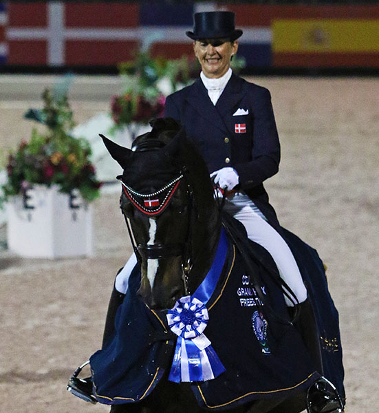 Mikala Gundersen on My Lady celebrating victory in the the 2016 Adequan Global Dressage Festival CDI5* Grand Prix Freestyle,. © 2016 Ken Braddick/dressage-news.com