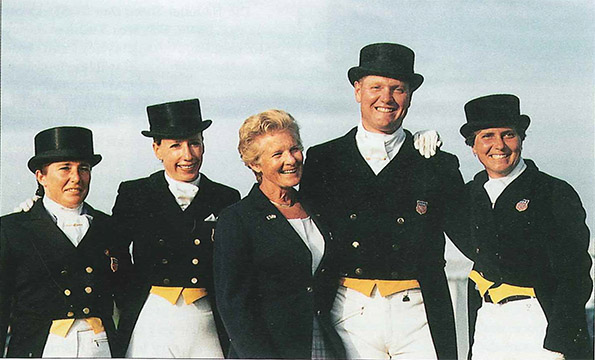 The 1997 United States Nations Cup team (left to right) Shelly Francis, Lynda Alicki, Jessica Ranshousen, Michael Barison and Sue Blinks. Photo: USET Archives