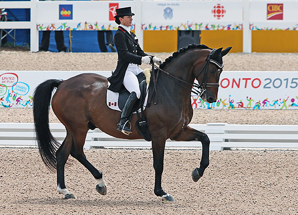 Belinda Trussell and Anton at the Pan American Gemes where the pair earned an individual Olympic start for Canada. © 2015 Ken Braddick/dressage-news.com